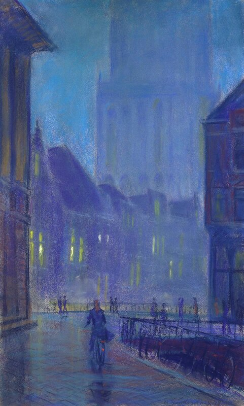 Schilderij van domtoren utrecht in zonlicht Vismarkt.Domtoren in de avond schemering .Impressionistich. Painting of Dom tower Utrecht in evening,twilight made by modern Dutch master painter.