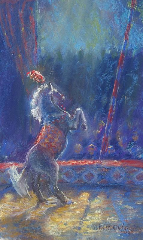 steigerend circuspaard in schijnwerper