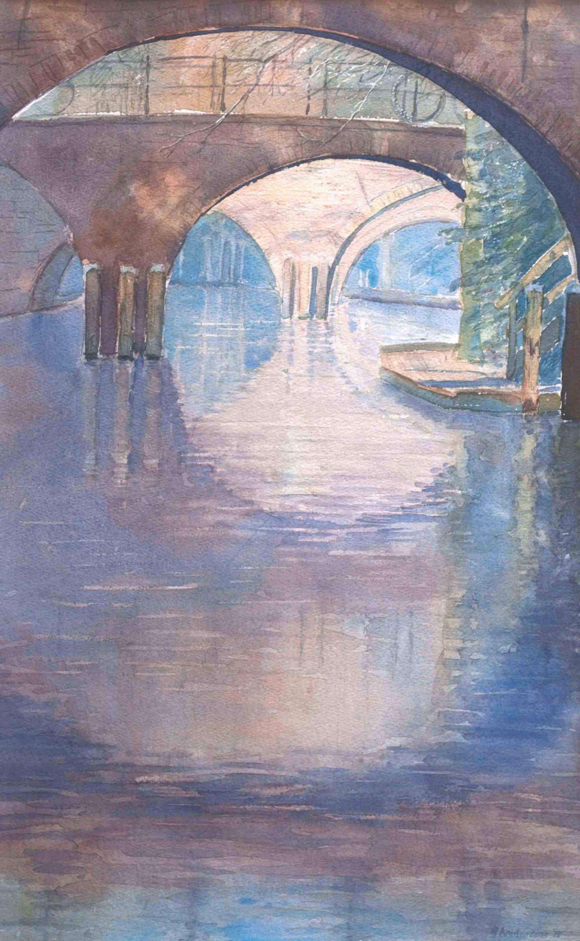 Schilderij Utrecht van bruggen over Oudegracht. zonnig, werf . Aquarel. painting Utrecht