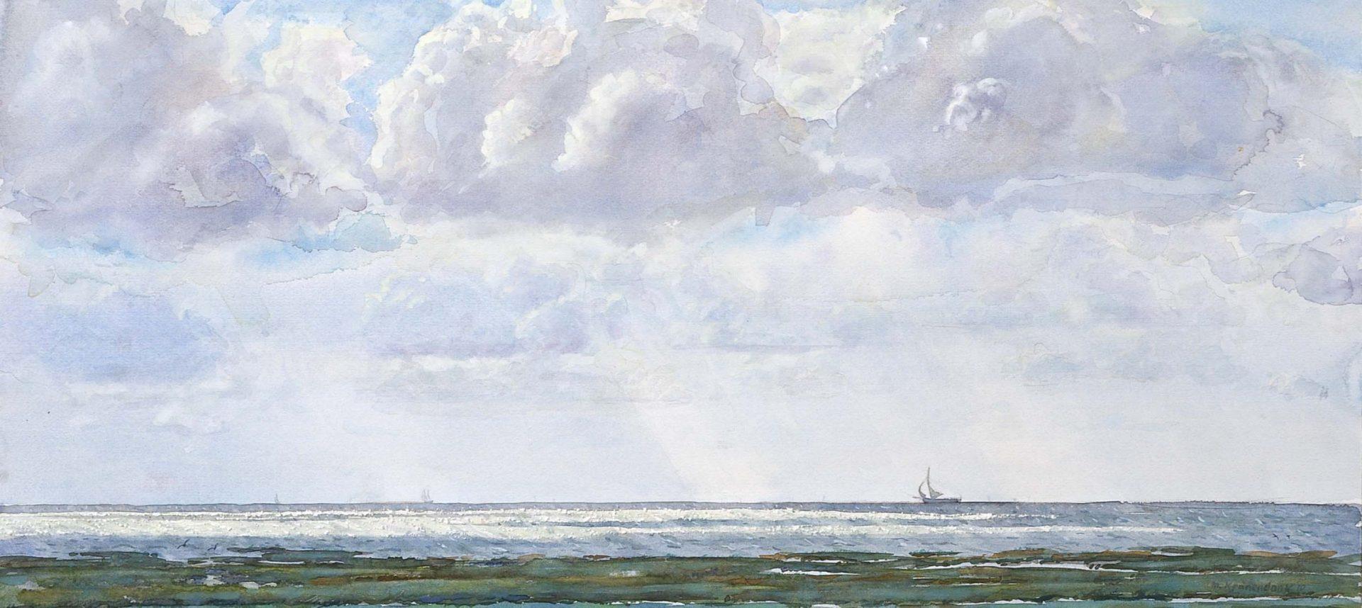 zonlicht op waddenzee bij dijk Terschelling met zeilschepen