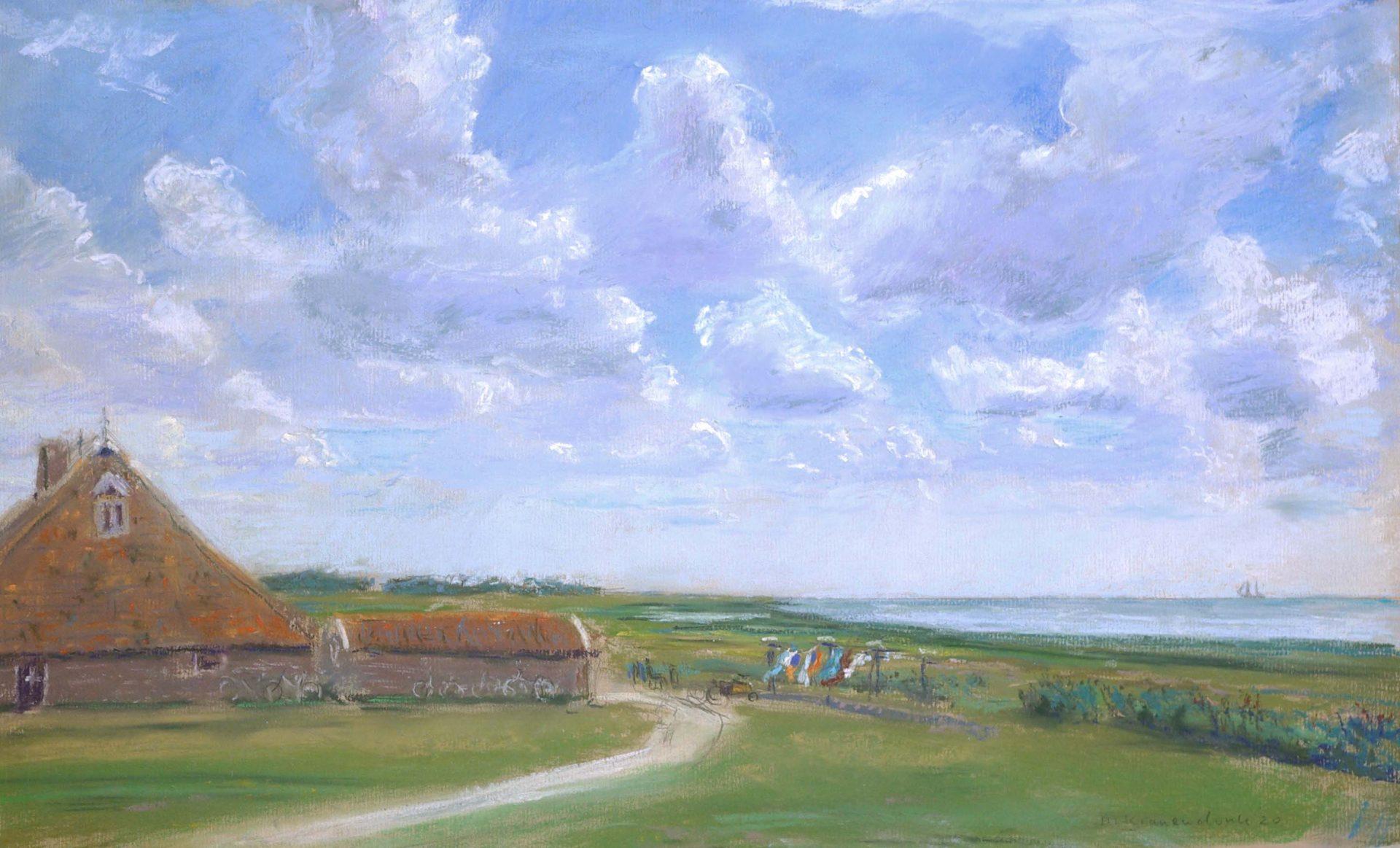 Schilderij van Wierschuur op Terschelling ,Boschplaat en Waddenzee erachter, realisme