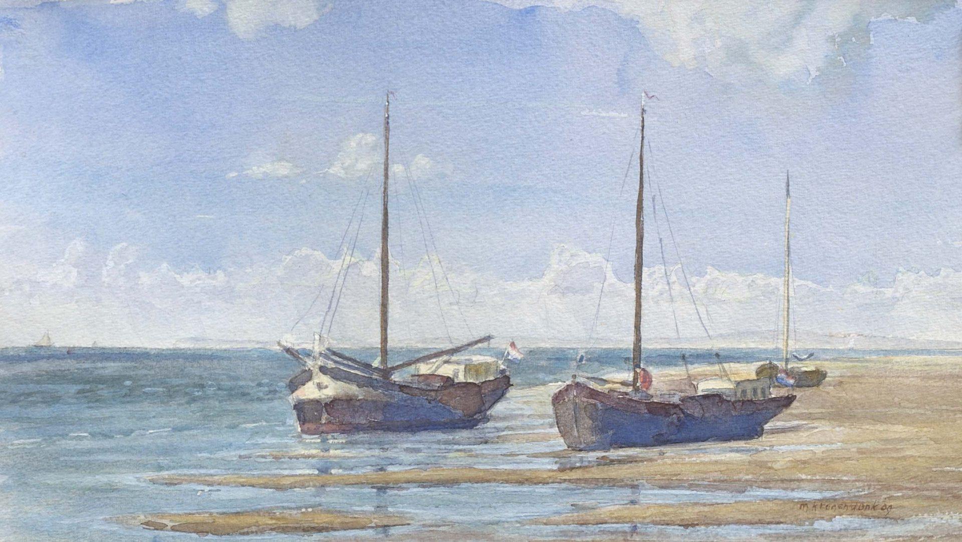 aquarel van drooggevallen platbodems zeilschepen drooggevallen op Groenestrand Terschelling realistisch figuratief