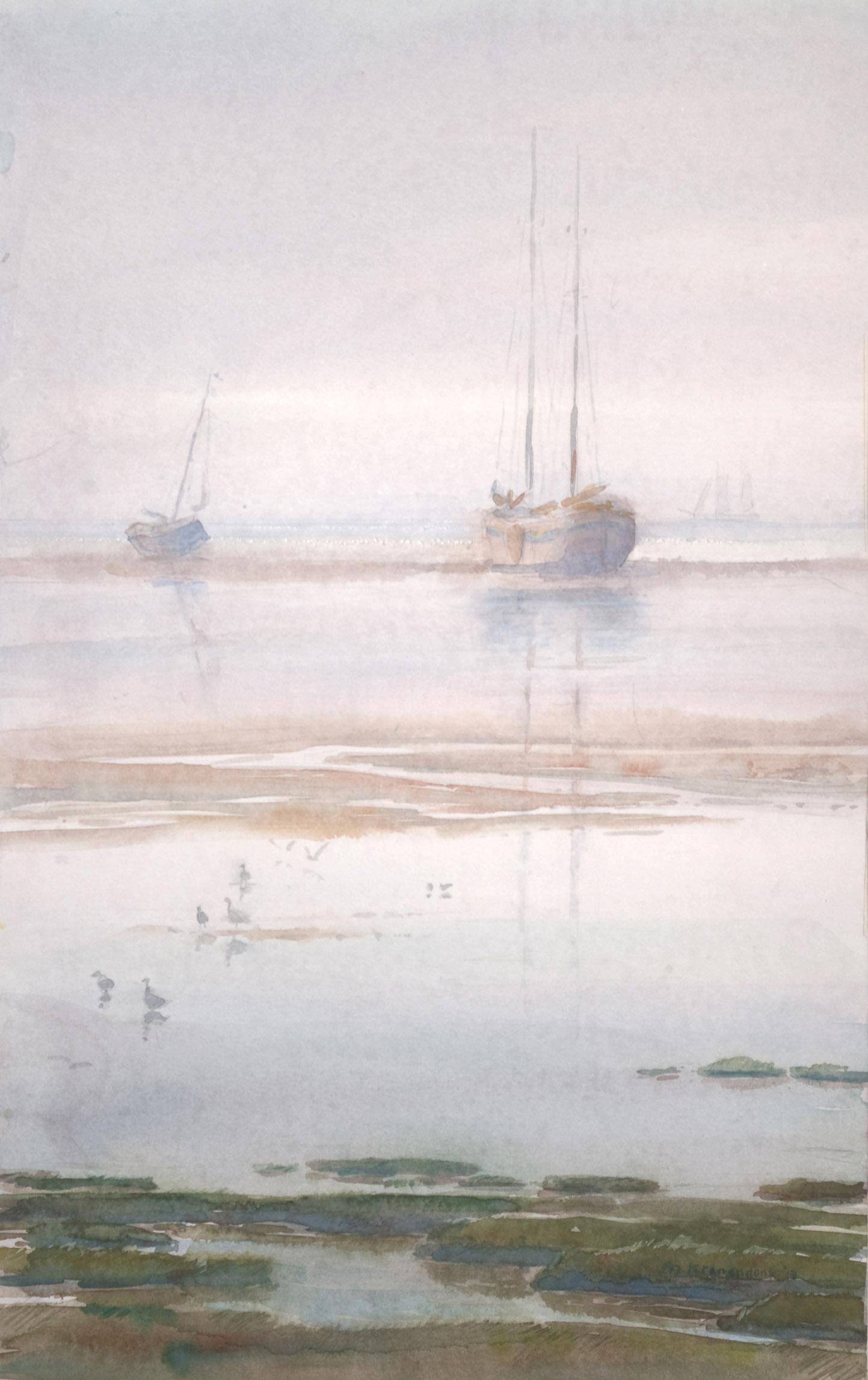 aquarel, schilderij van platbodems zeilschepen drooggevallen op wad in Waddenzee realisme