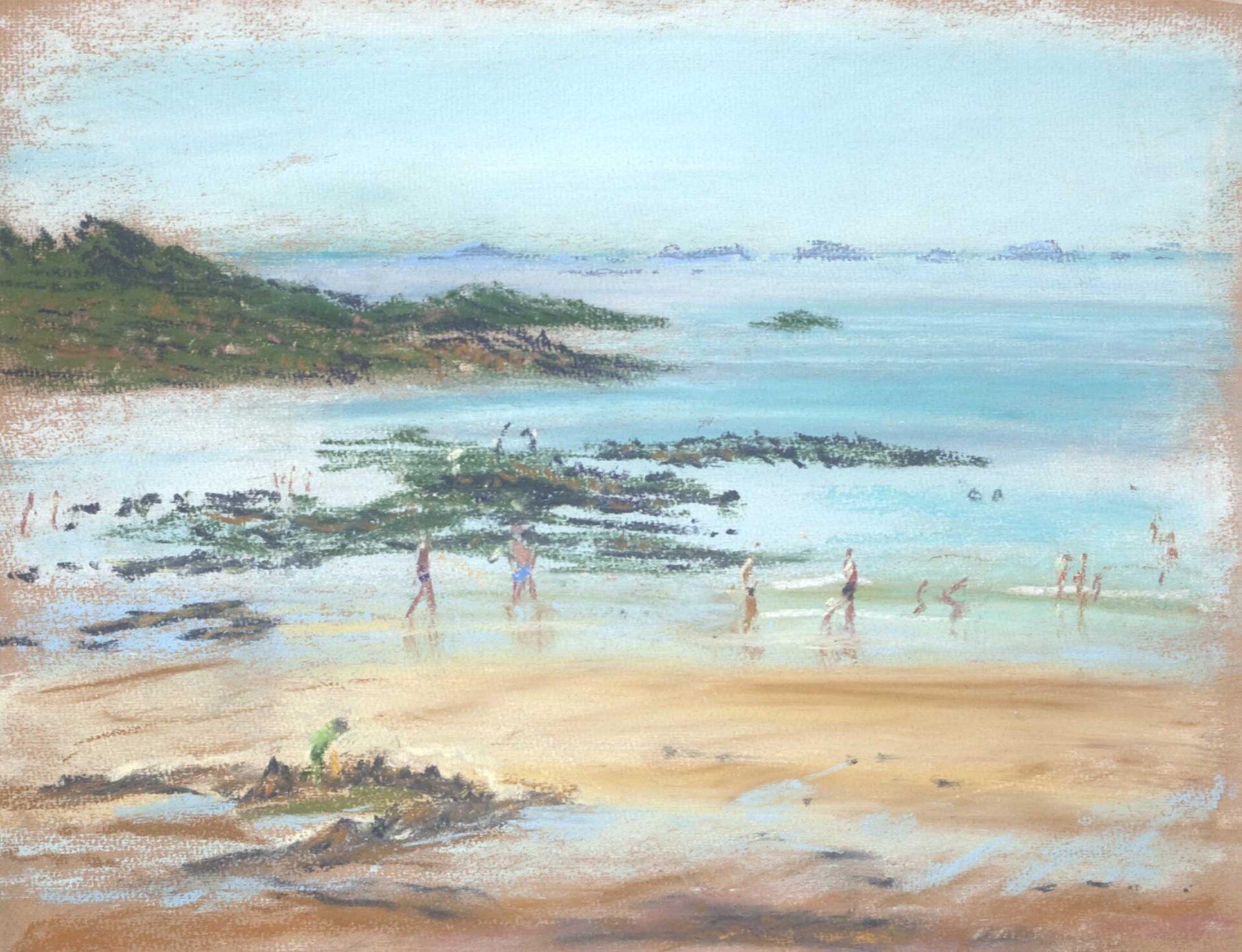 schilderij pastel strand met zwemmers en rotsen Bretagne Frankrijk