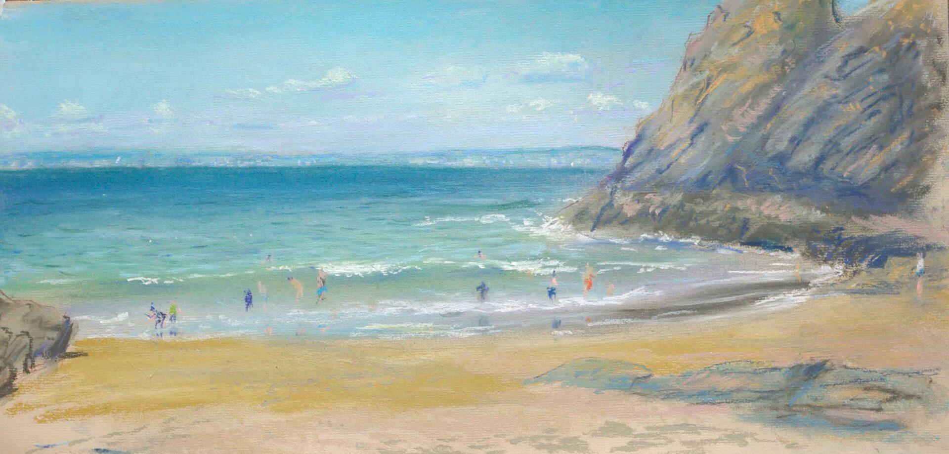 Patel schilderij van strand in Bretagne met hoge golven en zwemmers realisme
