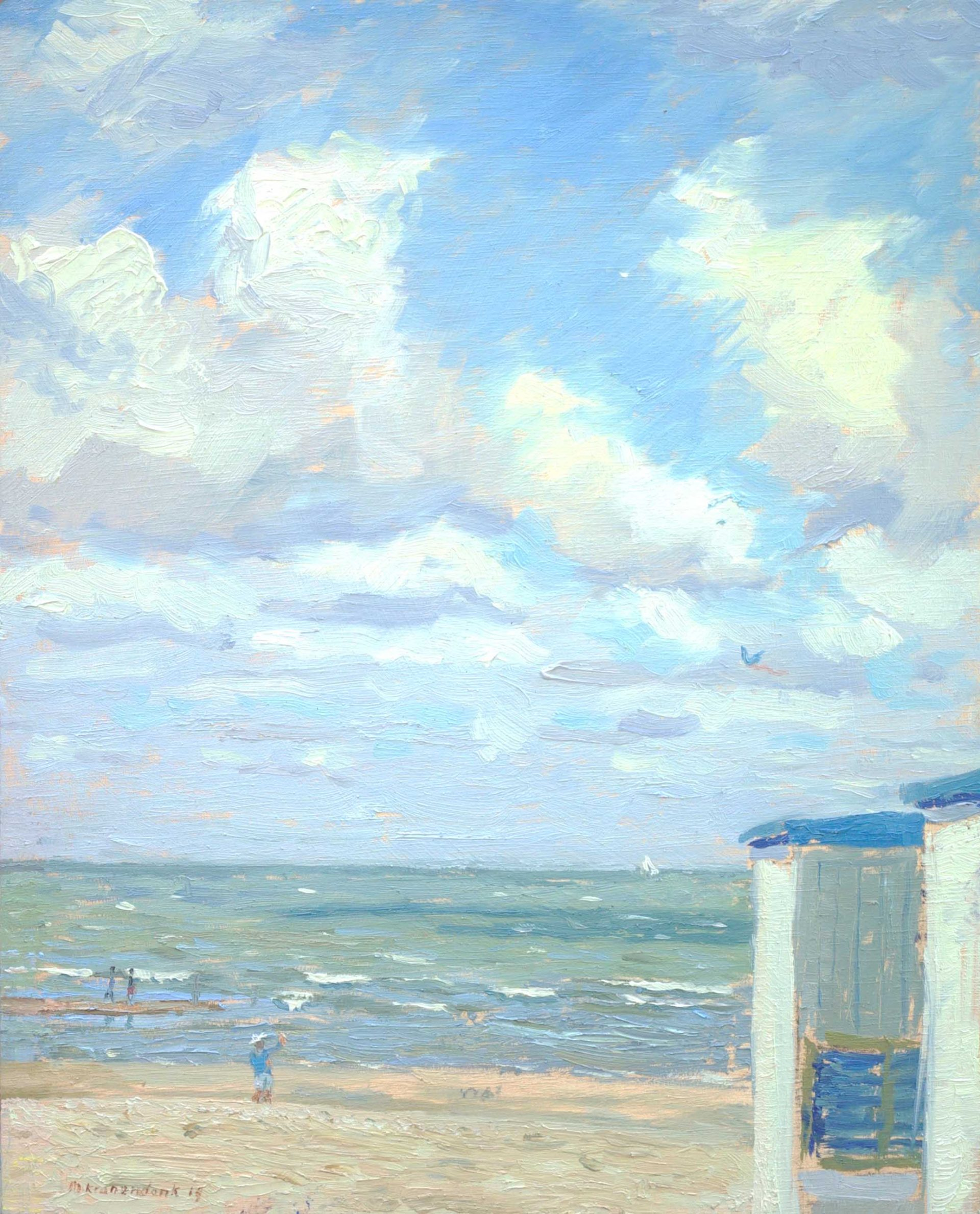 Olieverfschilderij van strand en zee Katwijk met badhuisjes.Nederlands strandgezicht realistisch impressionistisch