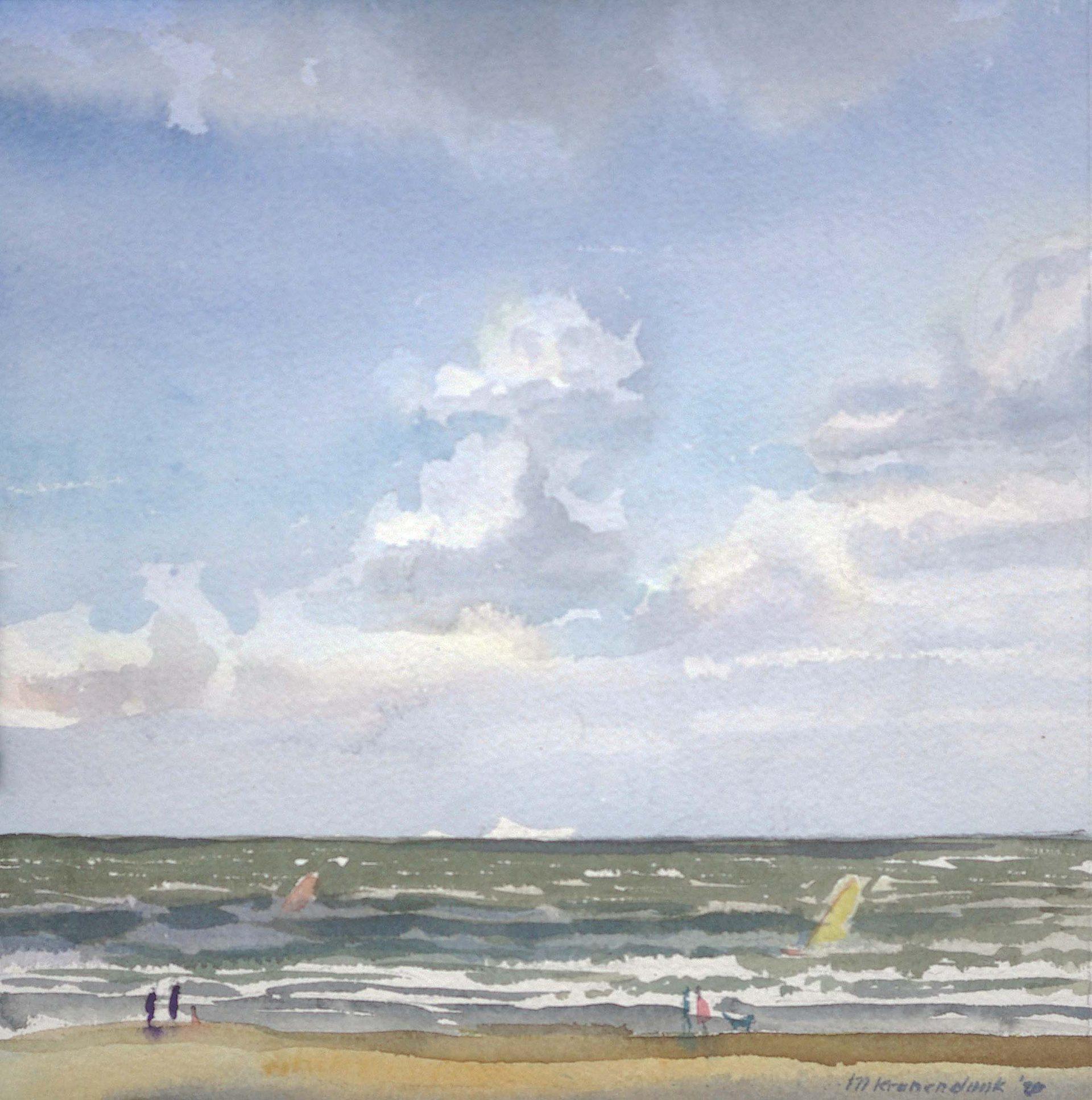 aquarel van zee met koppen en branding en surfers harde wind.Nederlands strandgezicht