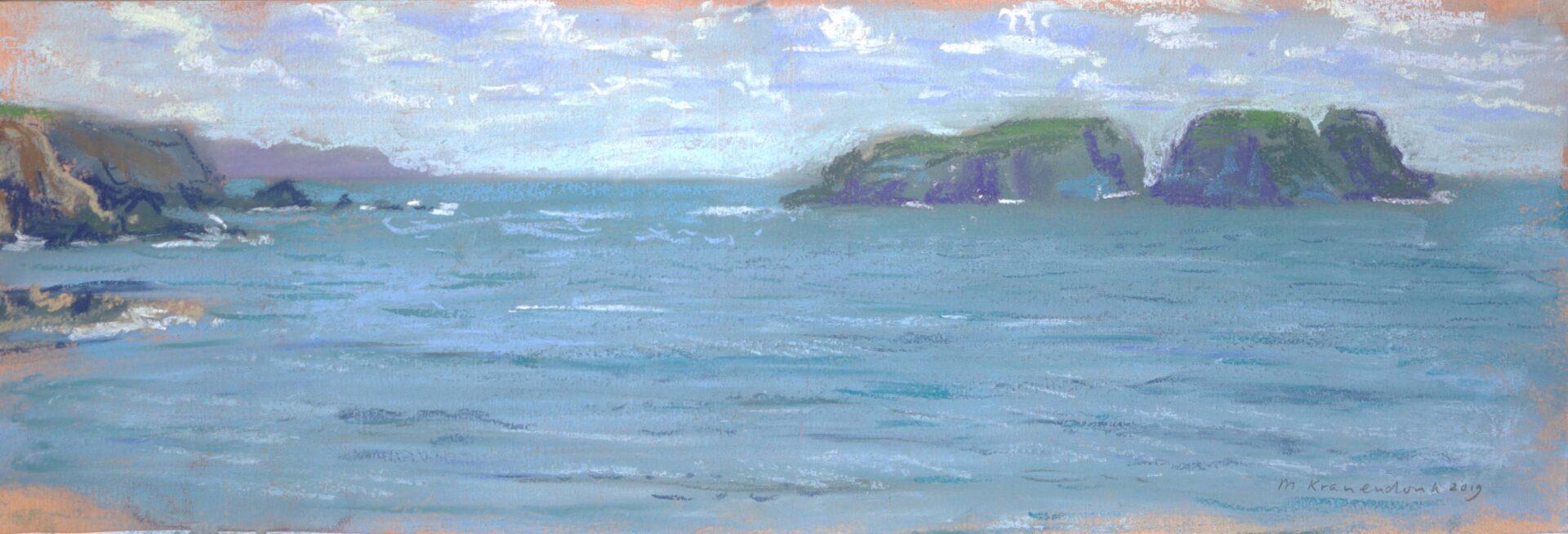 Schilderij pastel van kust Wales Engeland met rotsen