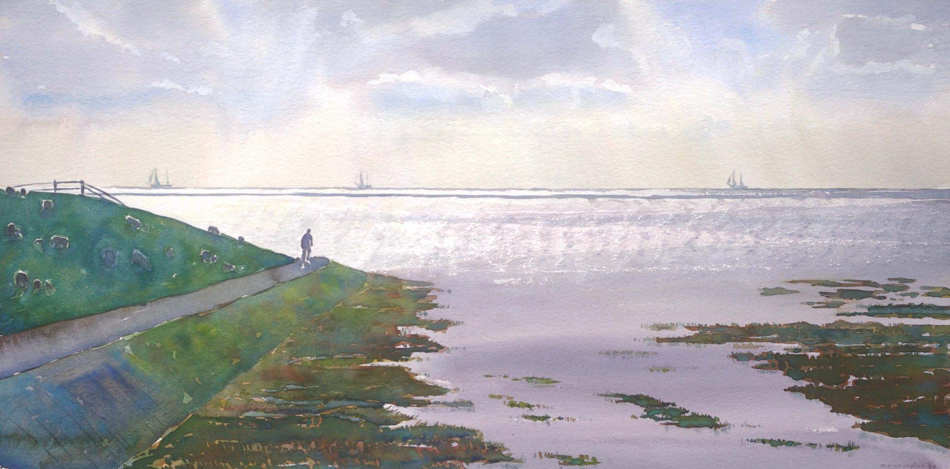 Schilderij van Fietser langs dijk Terschelling, waddendijk langs waddenzee, realisme