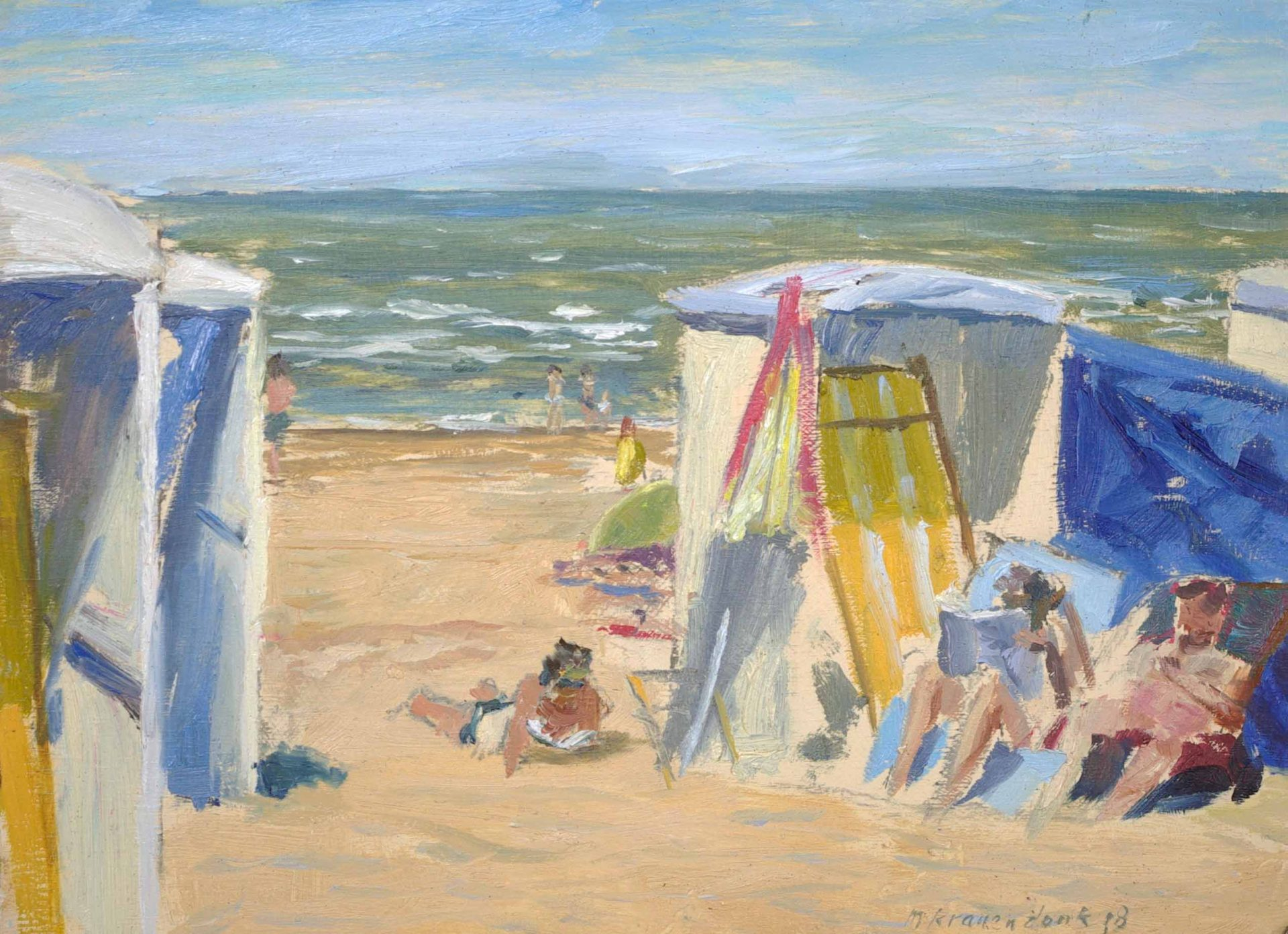 Olieverf schilderij Badgasten lezend in strandstoel op zonnig strand Katwijk. Hollands strandgezicht realistisch