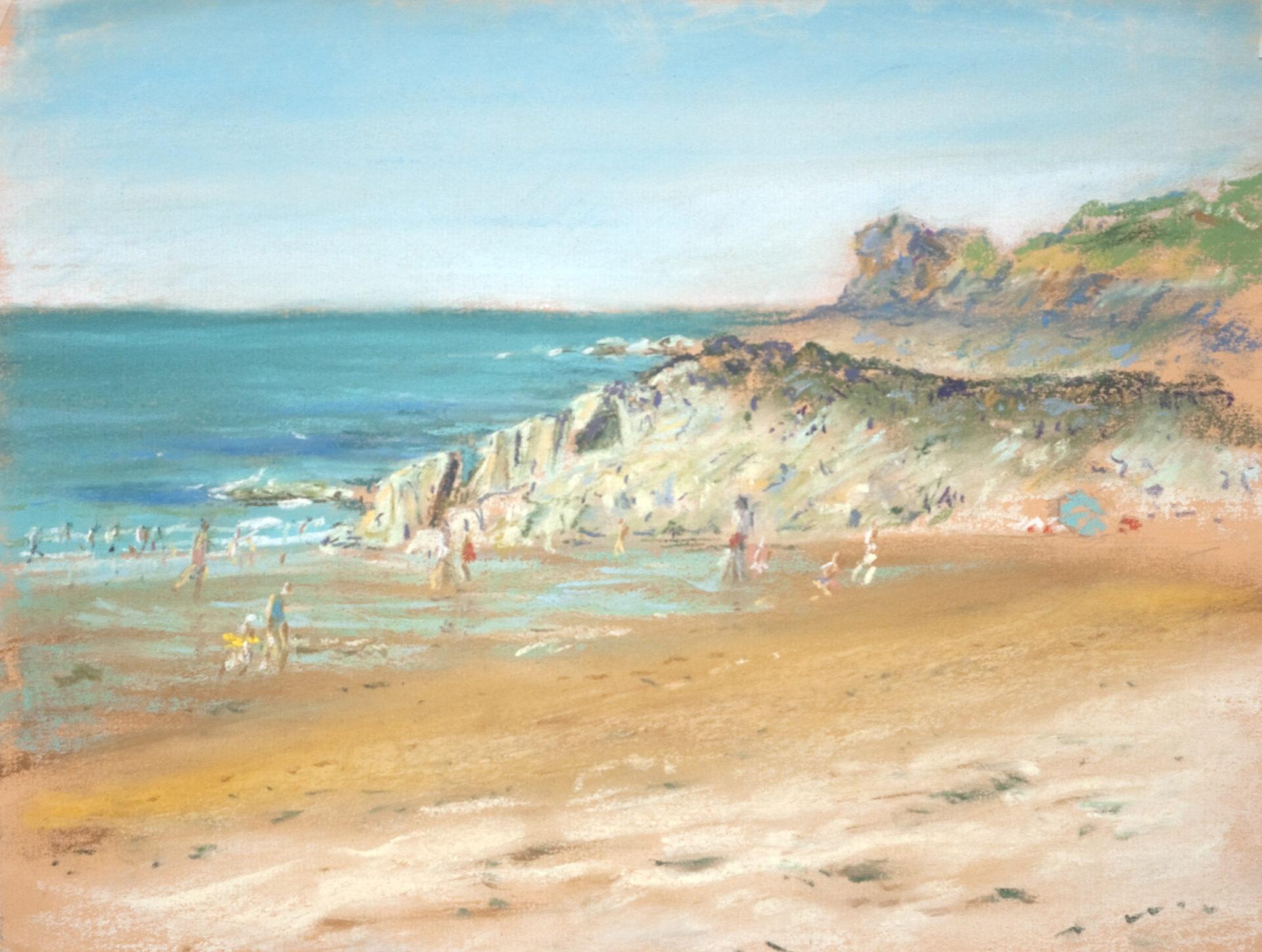Pastel schilderij strandgezicht met zwemmers
