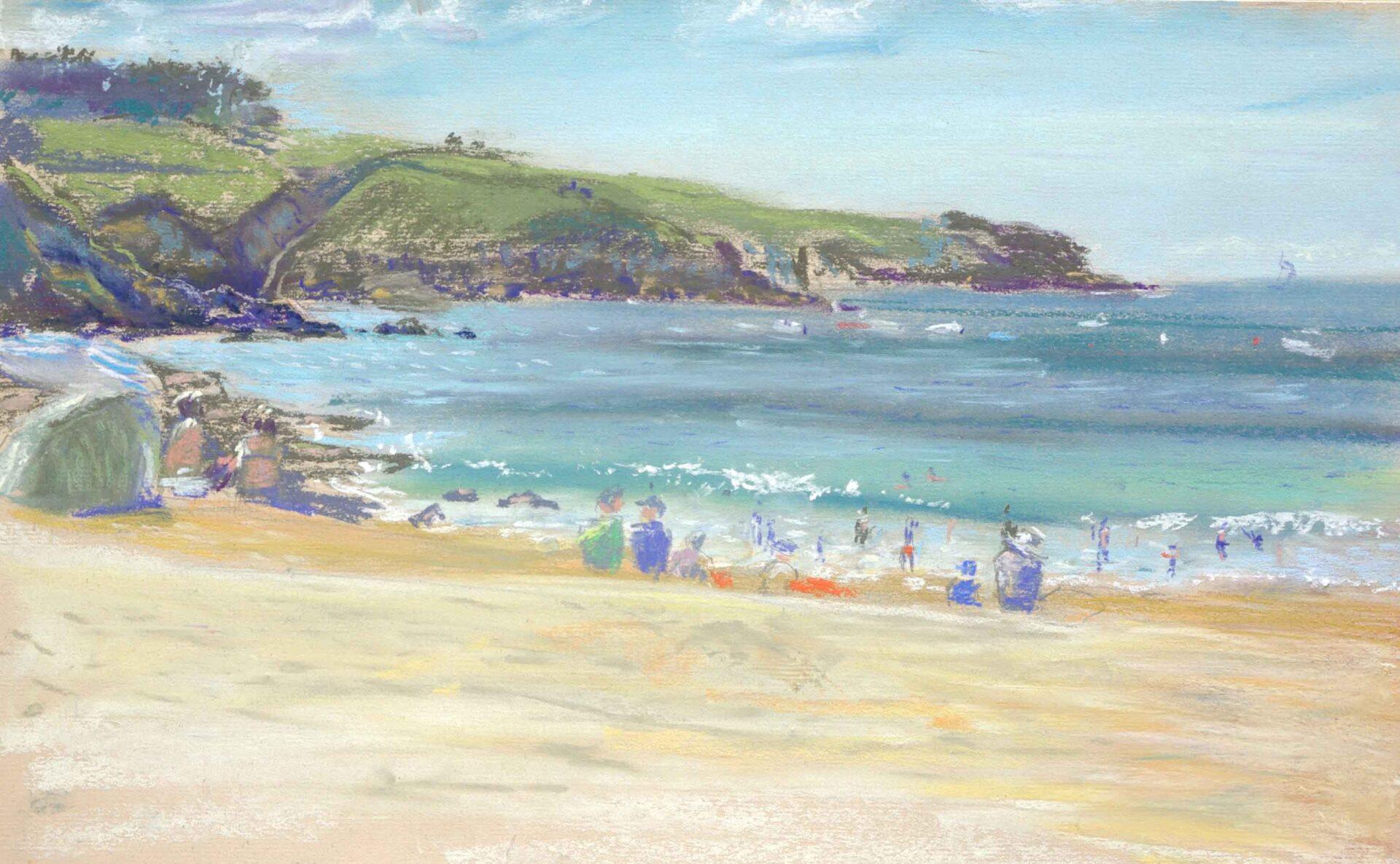 Schilderij van strand Bretagne met badgasten,zwemmers zonnig.strandgezicht realisme.