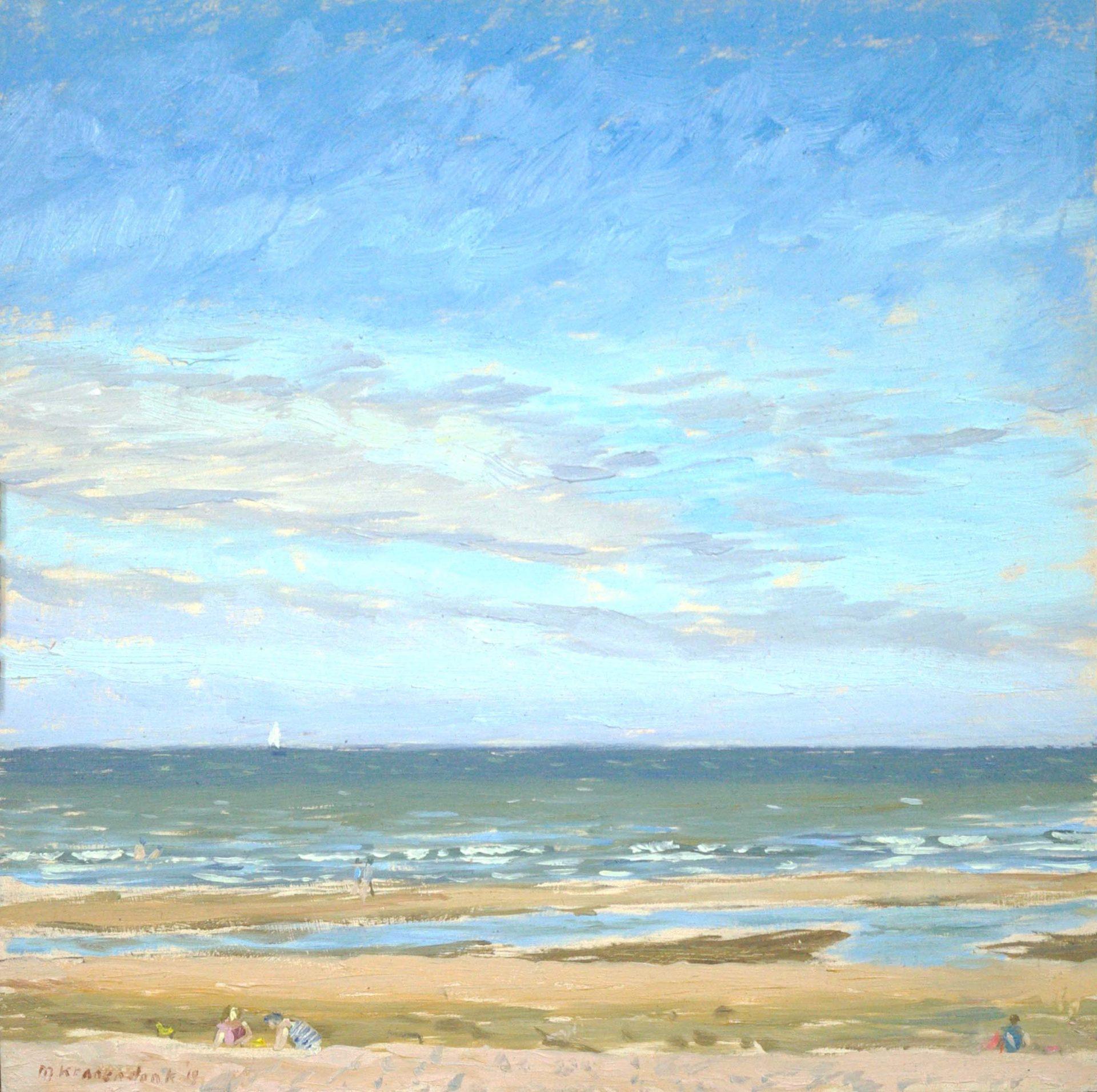 Olieverfschilderij van zonnig strand en zee Katwijk. Nederlands strandgezicht figuratief