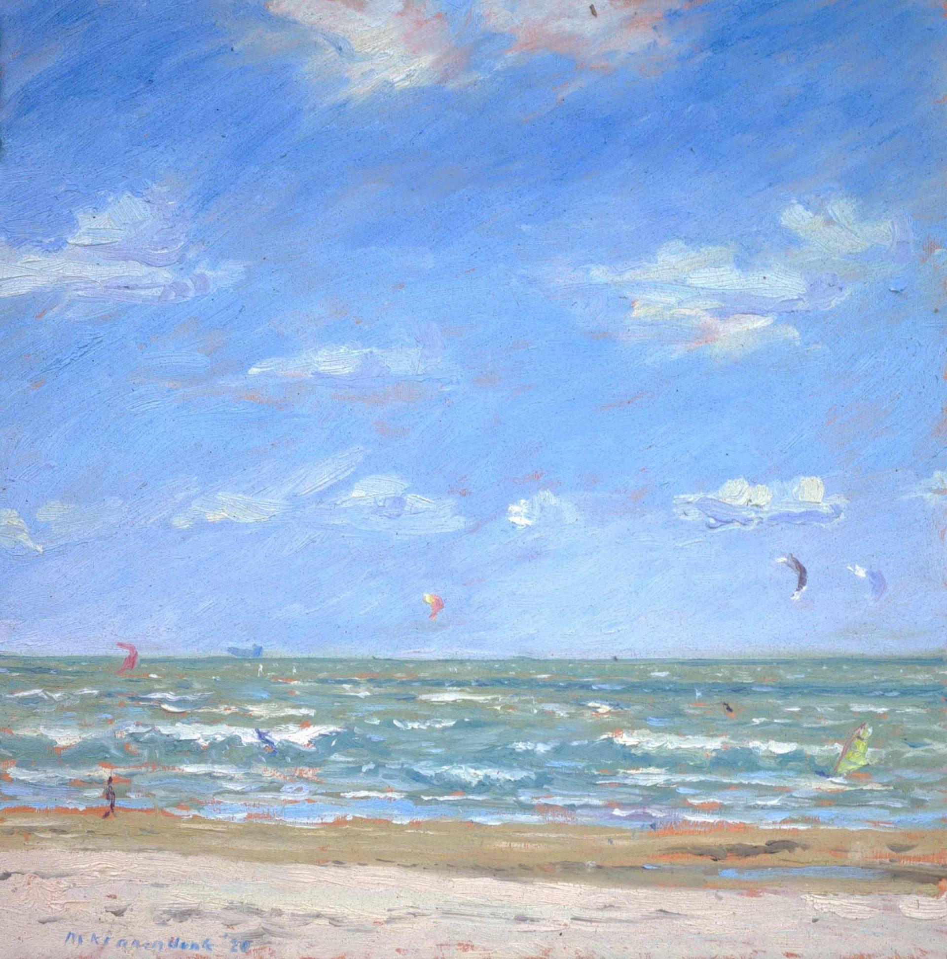 Olieverfschilderij van zee met hoge golven harde wind en byte surfers impressionistisch Nederlands strandgezicht realisme