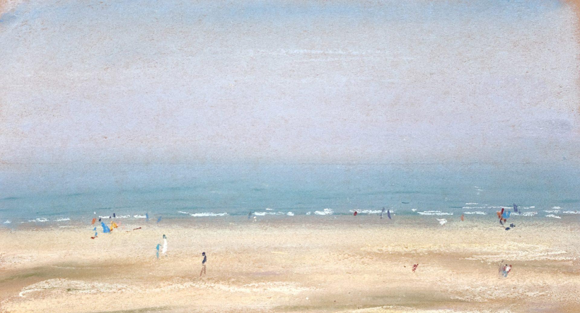sfeervolle pastel mensen op mistig strand