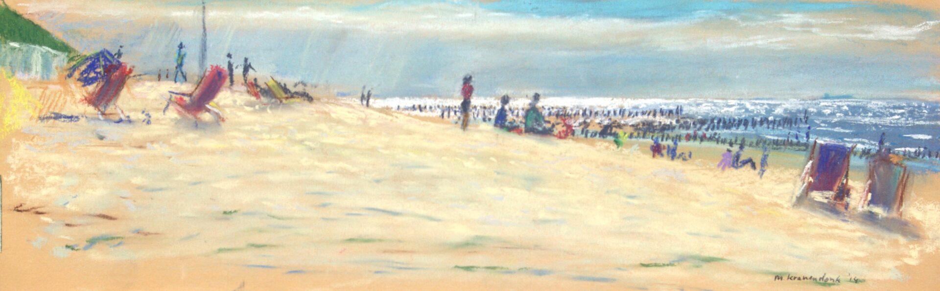 Pastel schilderij strand Domburg Zeeland avondlicht badgasten en strandstoelen