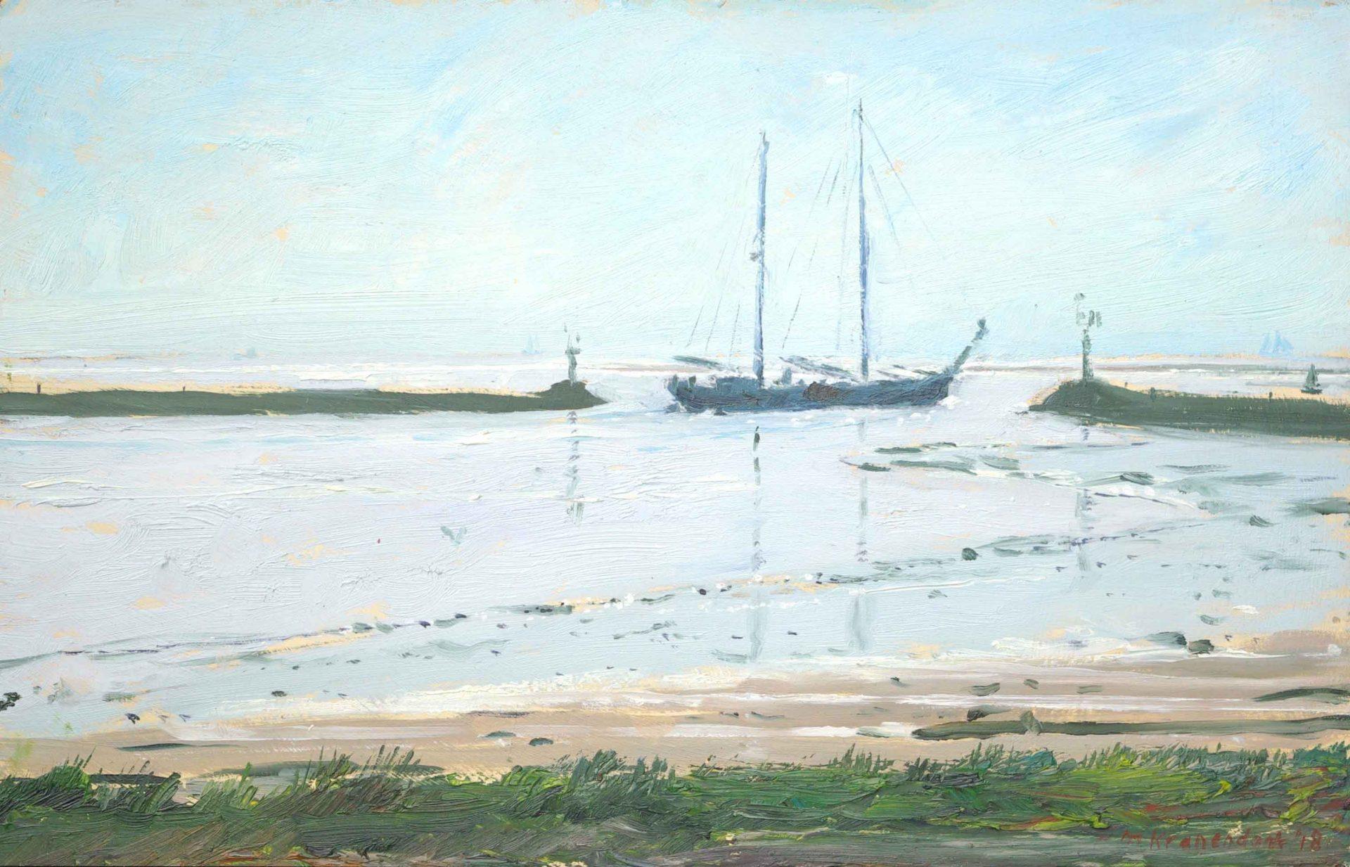 Olieverf schilderij zeilschip, tweemaster die haven Terschelling uitvaart realisme wadden