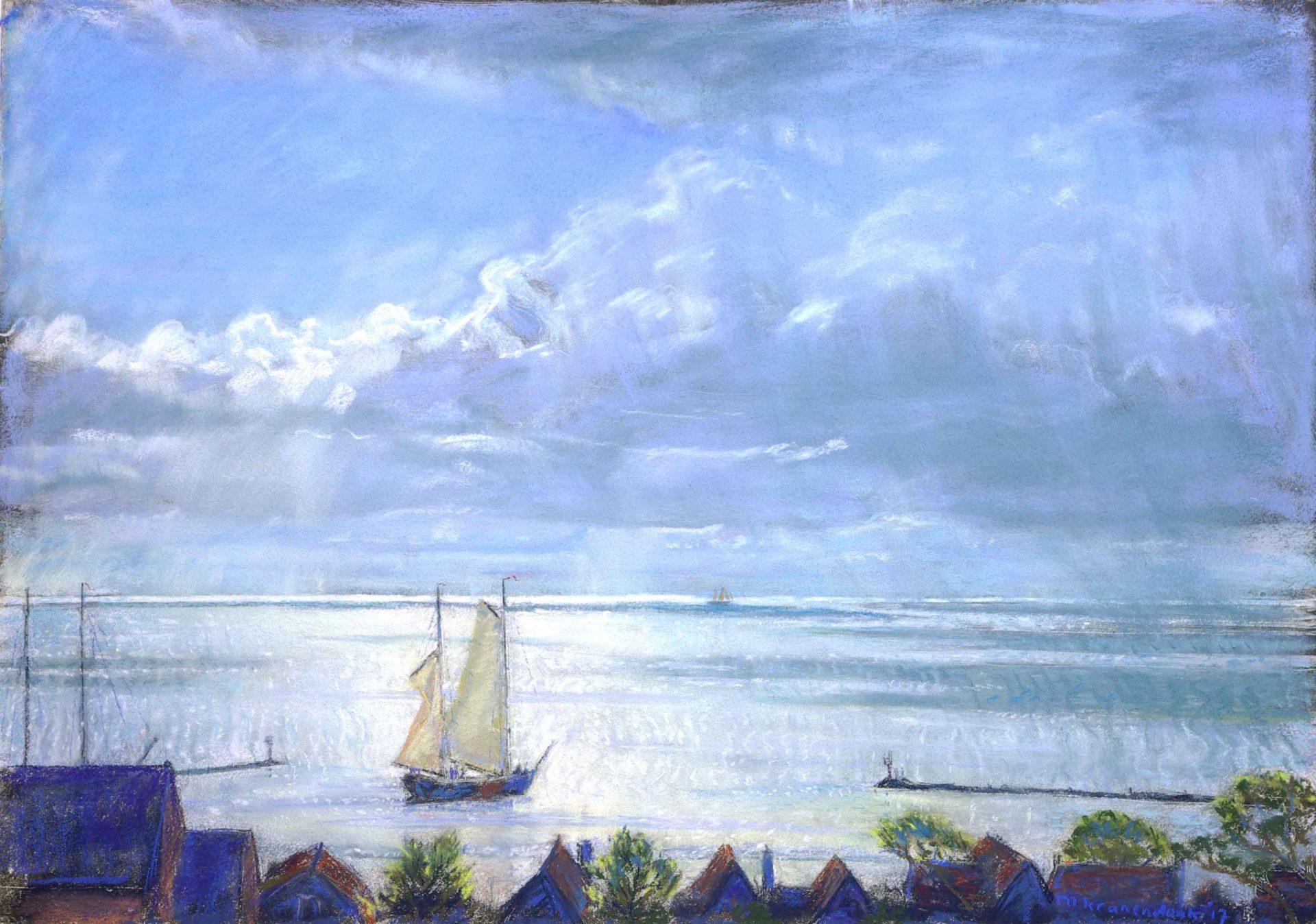schilderij, uitzicht over haven Terschelling met uitvarend schip zon reflecterend op zee