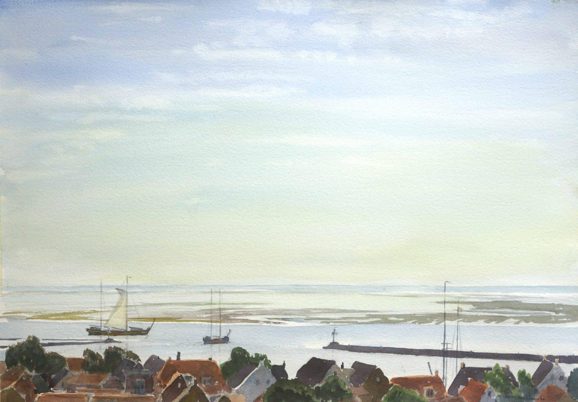 grote aquarel van twee zeilschepen die haven Terschelling uitvaren.zeegezicht, realisme waddenzee