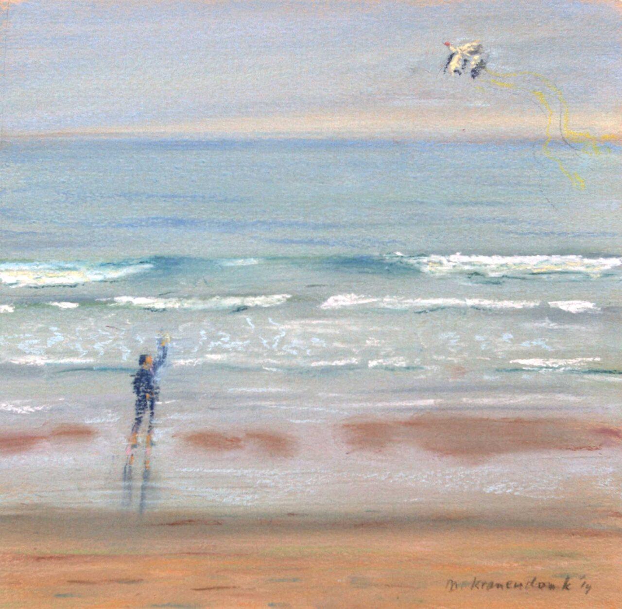 schilderij pastel van Kind dat vliegert op strand Domburg Zeeland