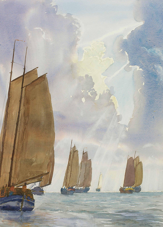 Bruine vloot zeilschepen zeilen Waddenrace zeilwedstrijd op Waddenzee grote aquarel