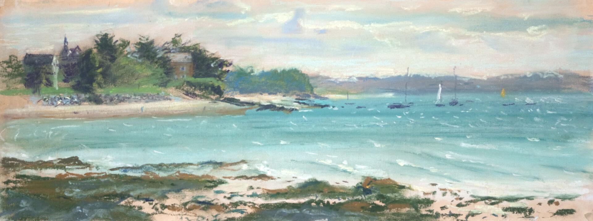pastel schilderij strandgezicht zee en dorpje Bretagne Frankrijk zeilbootjes realistisch