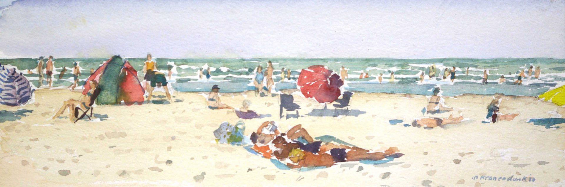 Aquarel schilderij van Zonnig strand Terschelling met badgasten, vrolijk