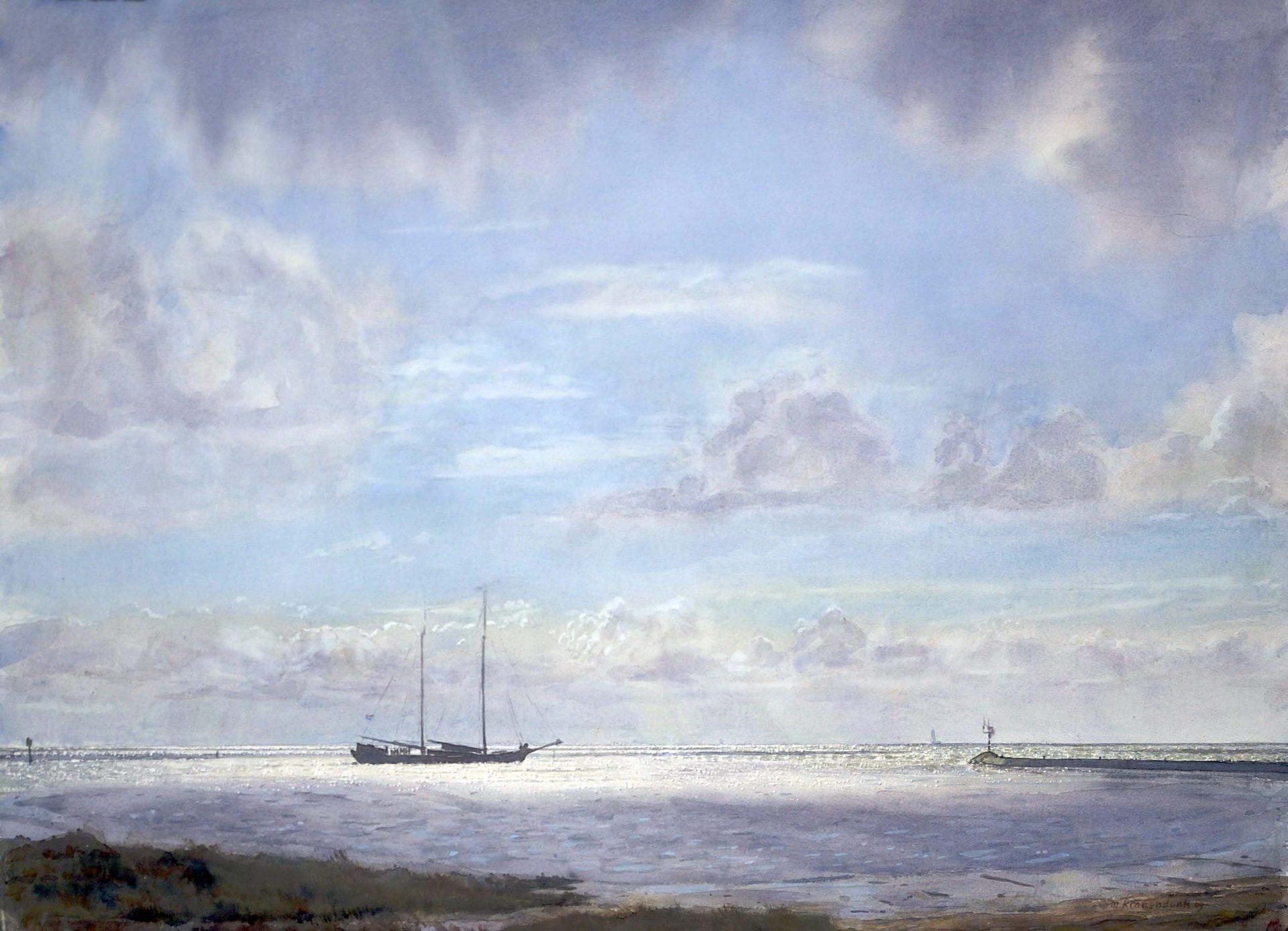 Aquarel zeilschip klipper dat haven Terschelling uitvaart realistisch schilderij