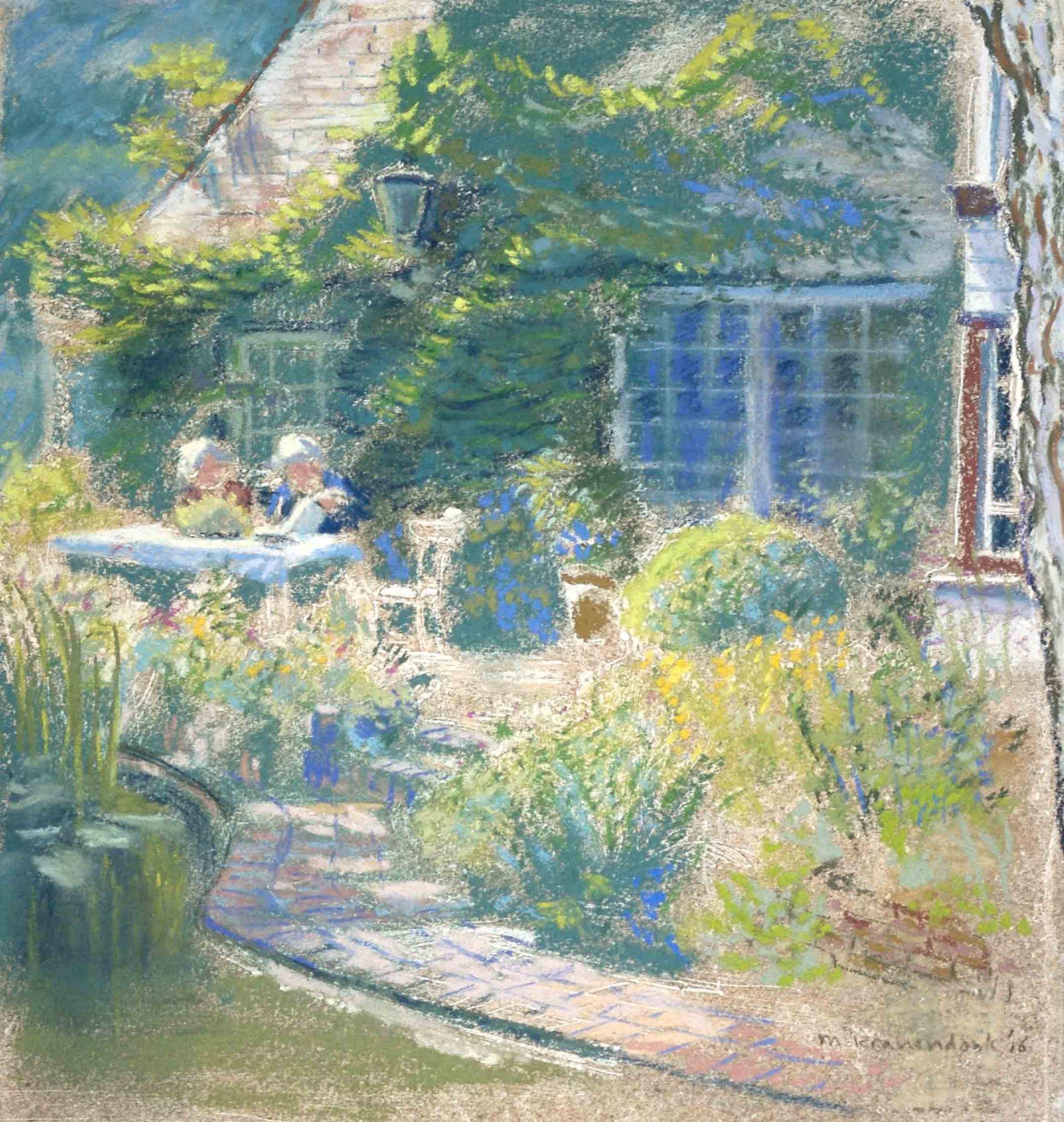 huisportret in opdracht, zonnig schilderij van woning en tuin met bewoners , aandenken aan woonhuis,impressie