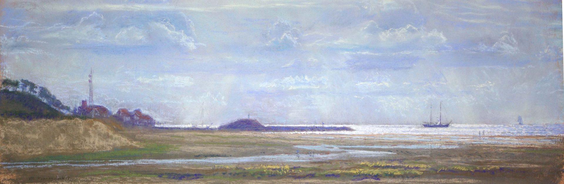 schilderij van Terschelling haven, uitvarende schepen.Voorgrond Groene strand, realistisch, Dutch master painter modern