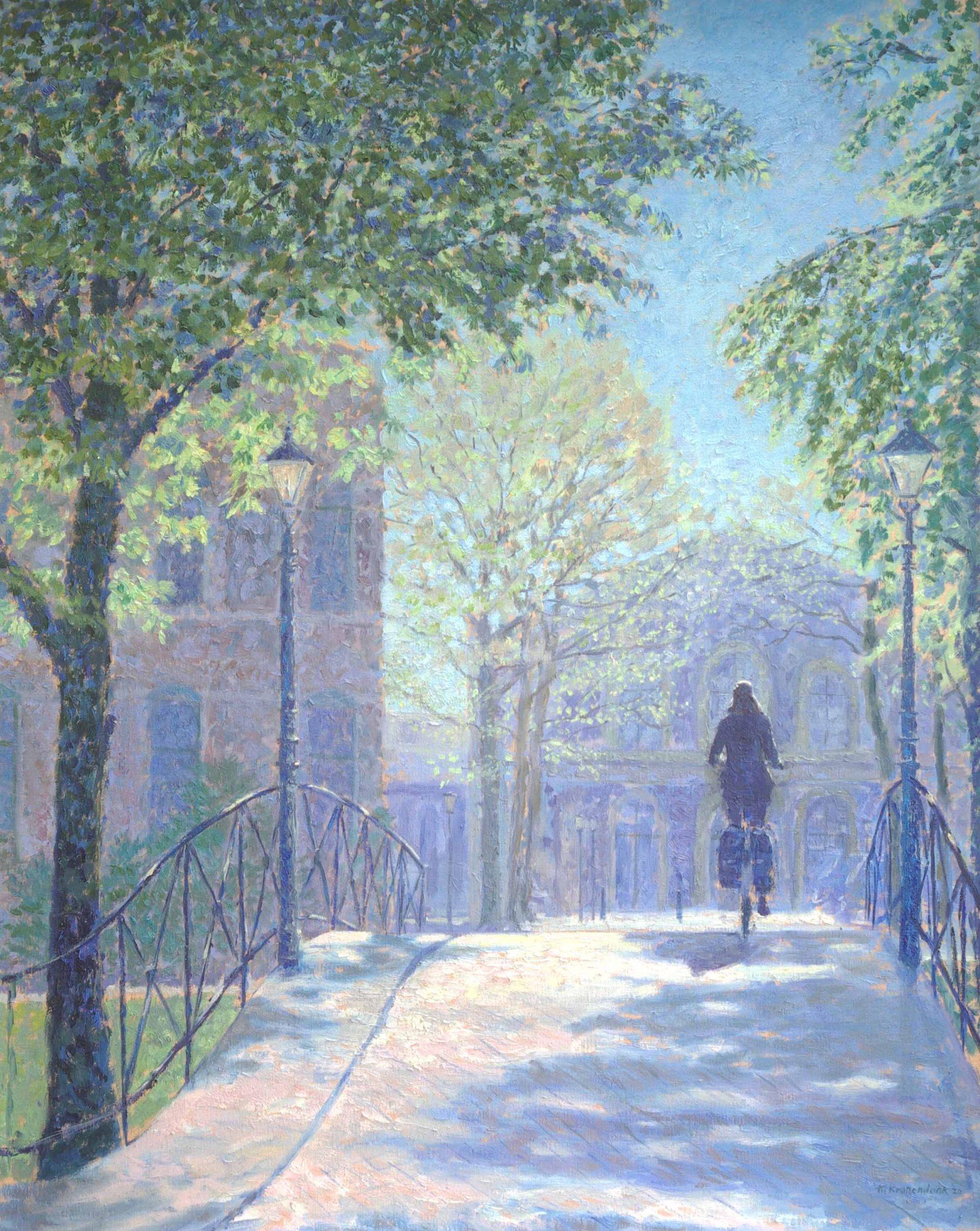 Olieverfschilderij opdracht vrouw fietsend over brug bij Spoorwegmuseum zonlicht.Impressionistisch,pointilistisch,stadsgezicht