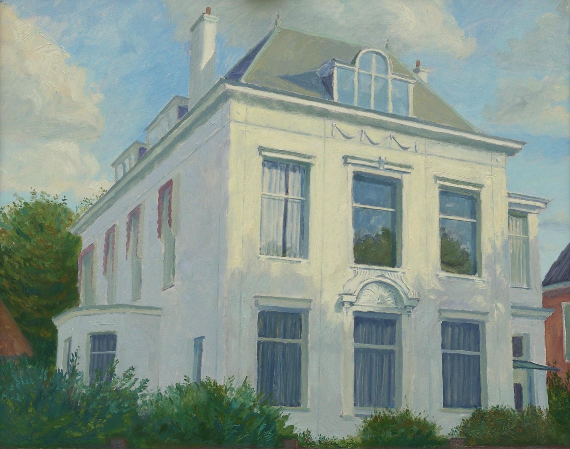 Huisportret in opdracht, zonnig olieverf schilderij van woonhuis, kantoorpand , aandenken aan woonhuis,impressie in olieverf