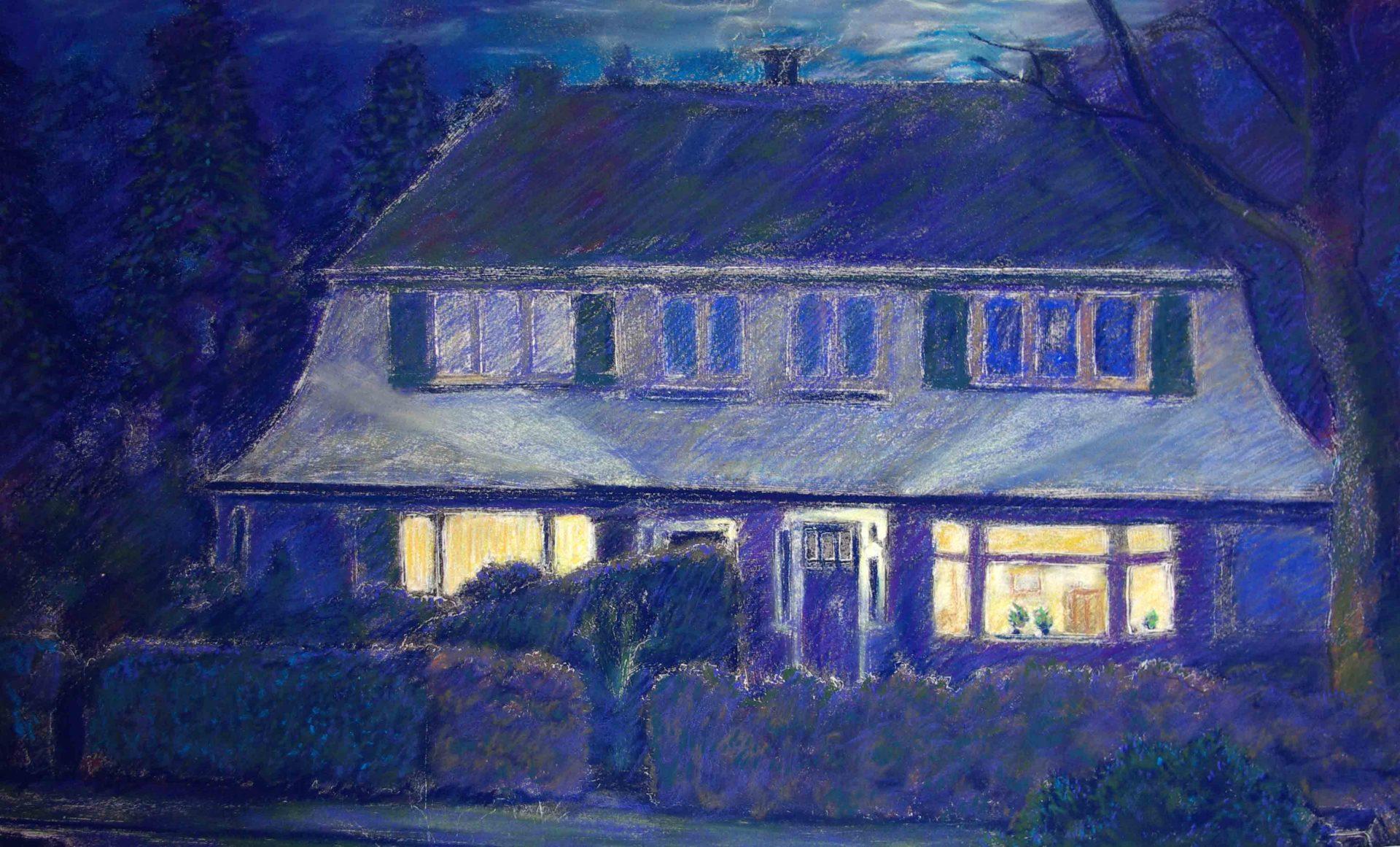 Huisportret in opdracht, avond schemering schilderij van woonhuis en tuin met bewoners , aandenken aan woonhuis,impressie in pastel