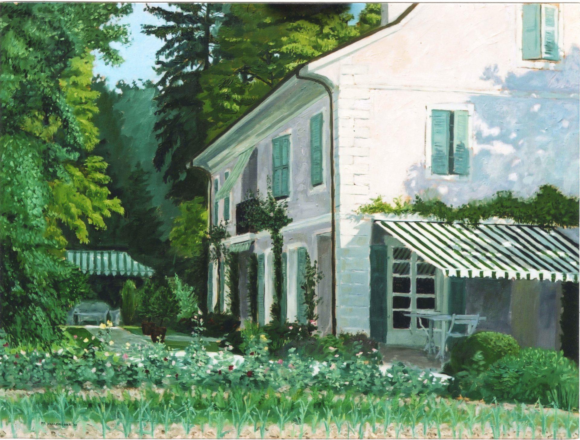 Huisportret in opdracht, zonnig olieverfschilderij van woonhuis en tuin , aandenken aan woonhuis, huwelijks of jubileum cadeau