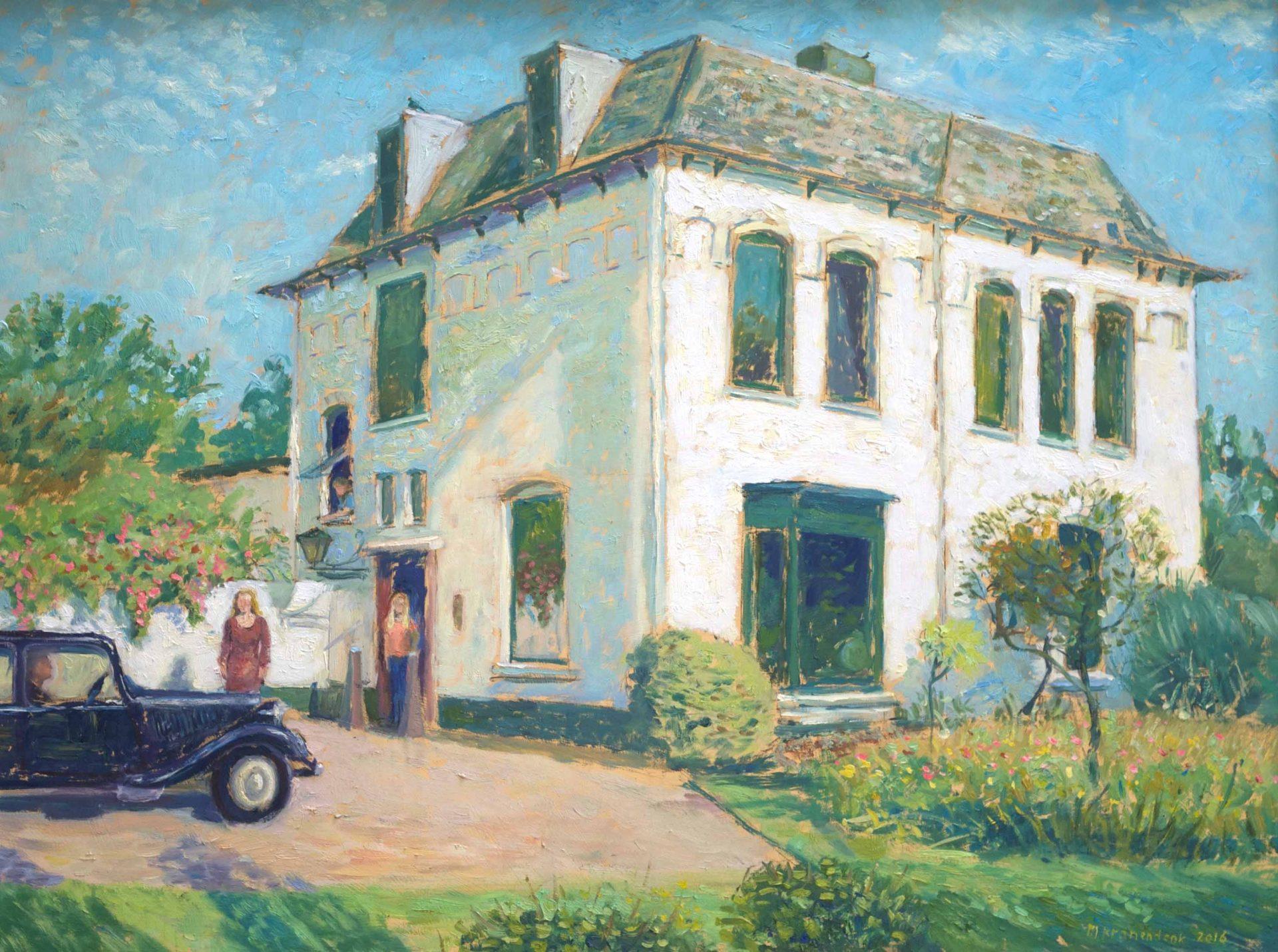 Huisportret in opdracht, zonnig olieverfschilderij van woonhuis en tuin met bewoners , aandenken, huwelijks jubileum cadeau