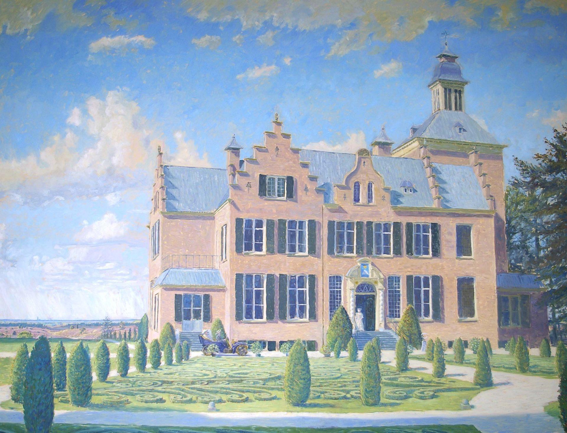 Olieverfschilderij van Maarten Maartenshuis in Doorn. Opdracht' statig landhuis, huisportret, zonnig, aandenken dierbaar woonhuis, bijzonder cadeau