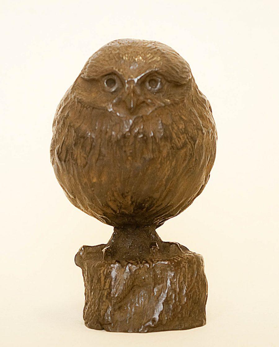 Bronzen beeld baby uiltje, sculptuur realistisch, jong uiltje,bijzonder cadeau, relatiegeschenk, jong dier,natuur,