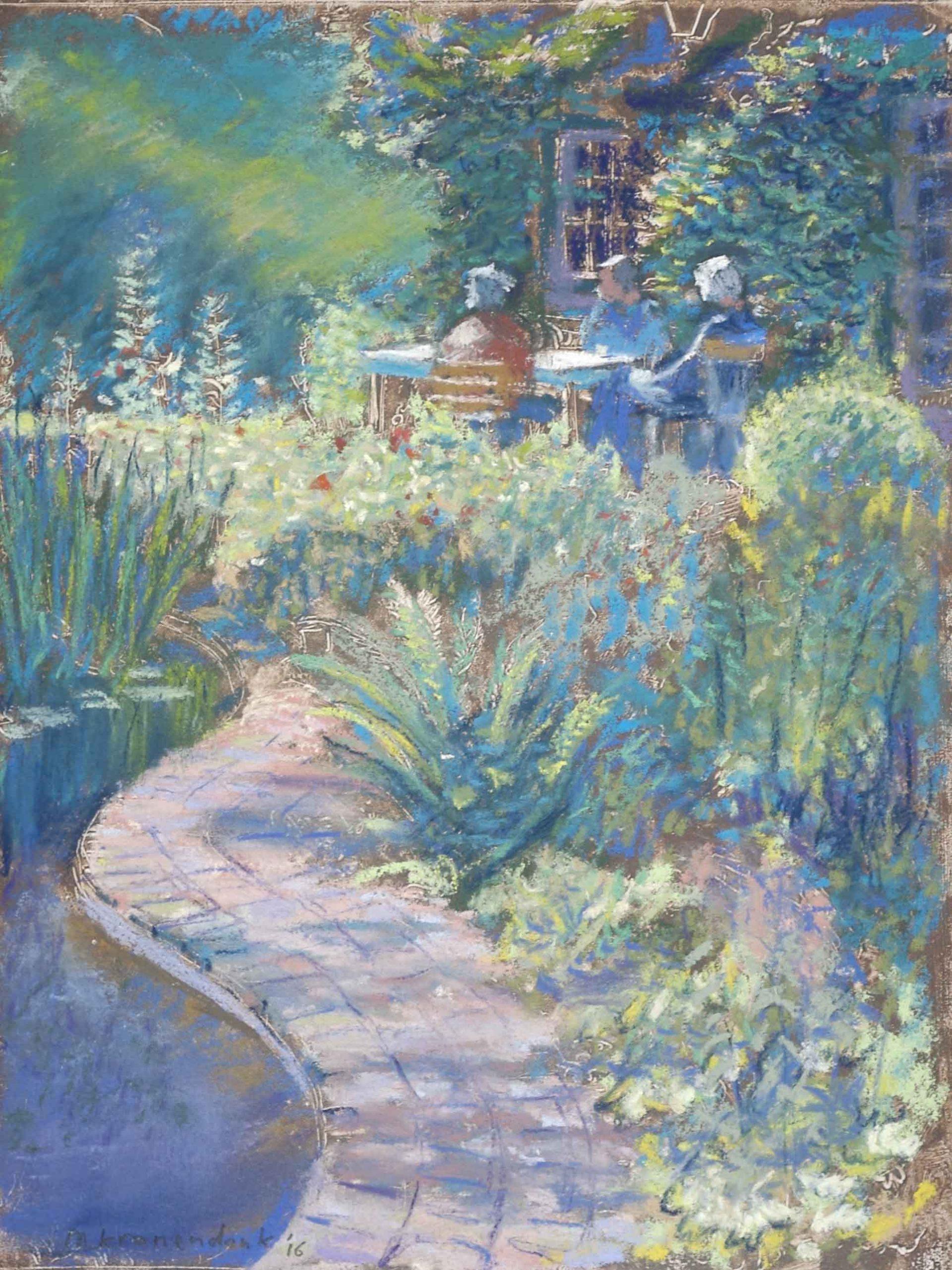 Huisportret in opdracht, zonnig schilderij van woonhuis en tuin met bewoners , aandenken aan woonhuis,impressie