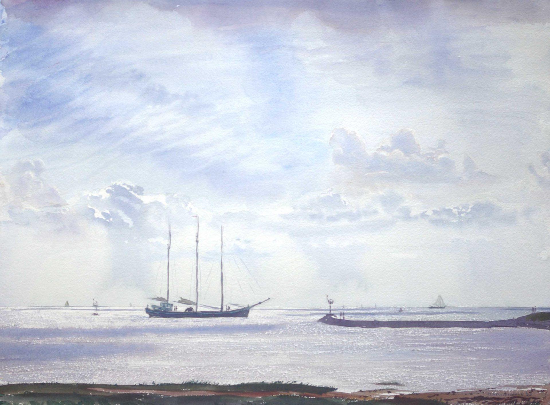 Bruine vloot,driemaster zeilt haven Terschelling uit.Wad, schilderij, aquarel,zeegezicht