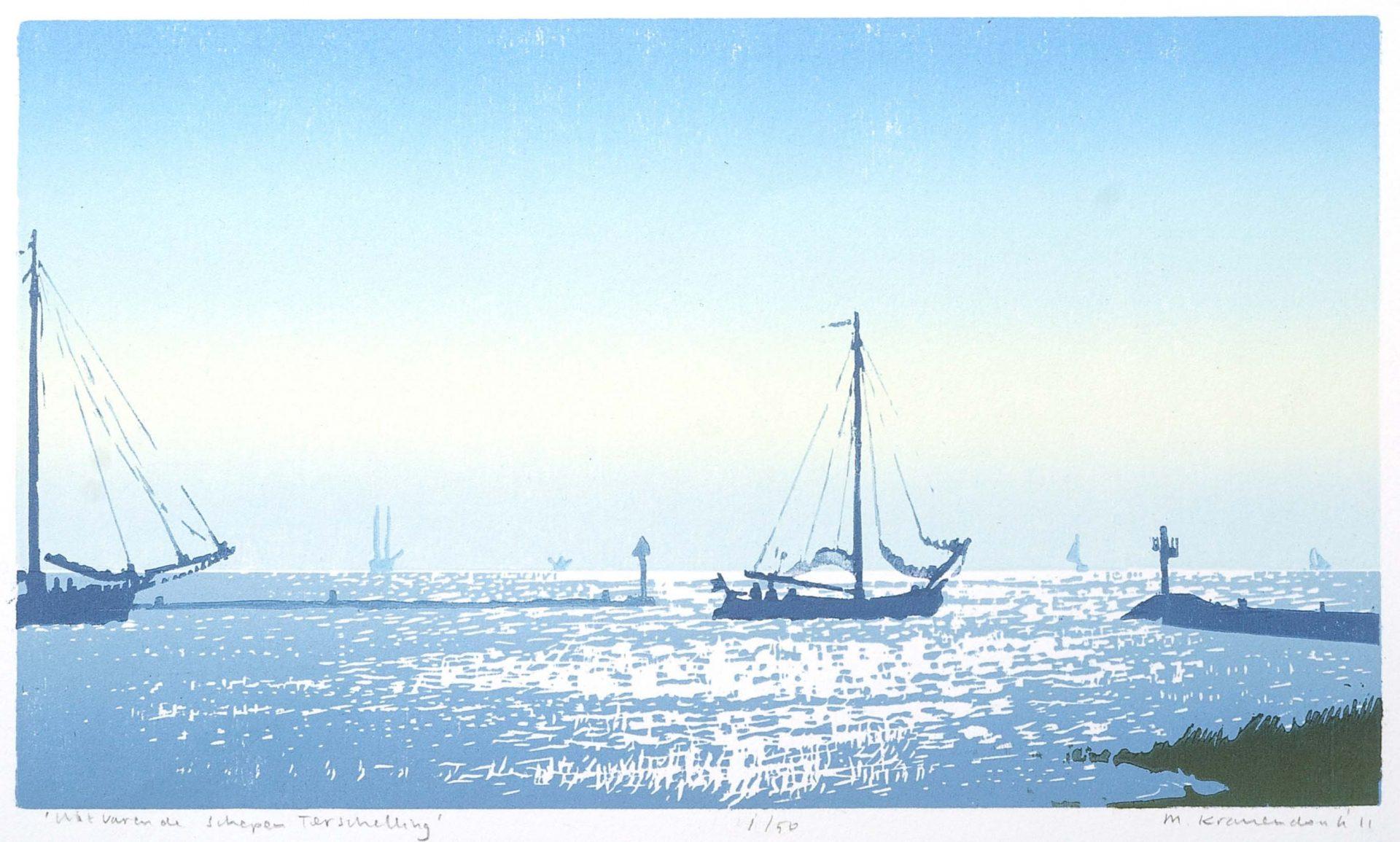 Kleuren houtsnede /schilderij van schip dat haven Terschelling uitvaart.Dutch master printmaker marine ,woodcut