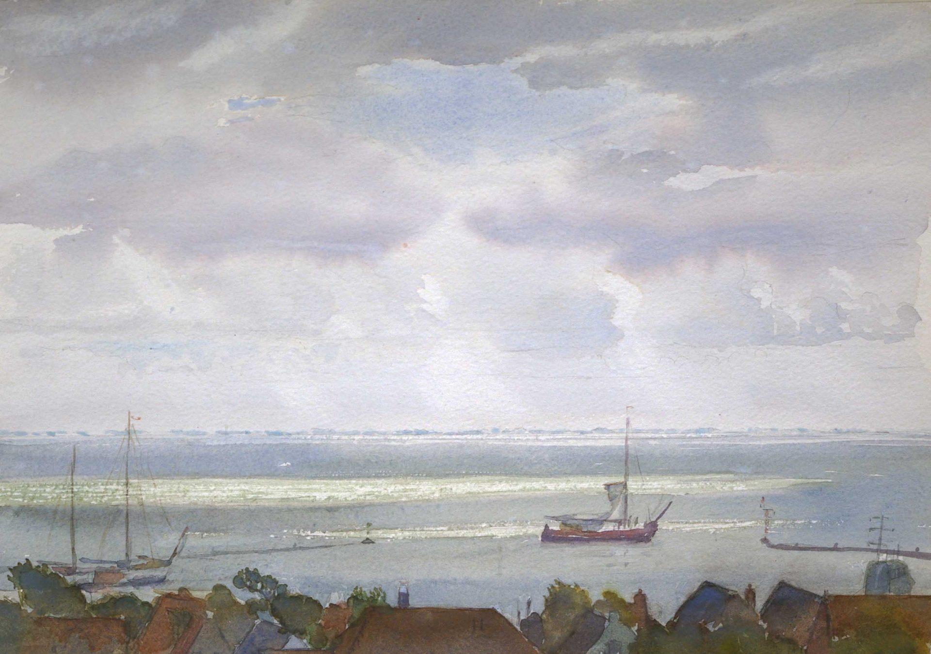 Schilderij van Uitzicht over haven van Terschelling, met platbodem die zeilen hijst.figuratief, realisme, Dutch master ,painter ,Dutch marine painting